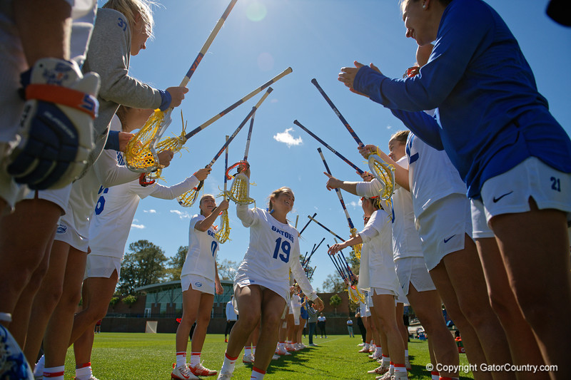 Florida Gators womens lacrosse defender Emily Petillo during pregame as the #8 ranked Gators come from behind to beat the #3 ranked Stony Brook Seawolves 12-10 at Donald R. Dizney Stadium in Gainesville, Florida on February 29th, 2020 (Photo by David Bowie/Gatorcountry)