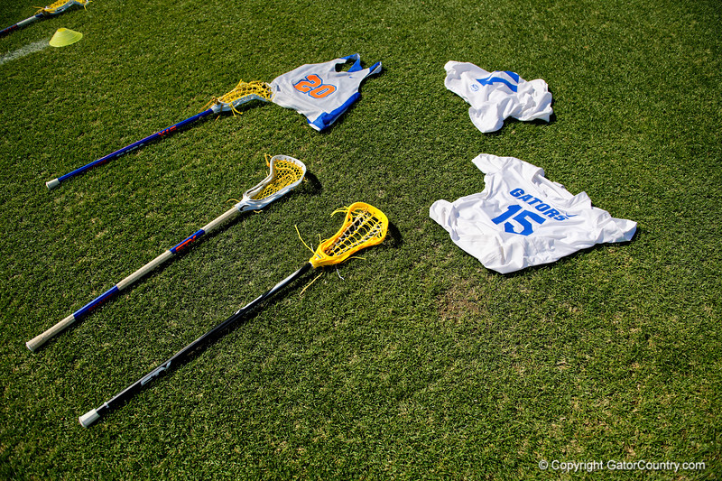 Florida Gators womens lacrosse attacker Grace Haus's jersey and sticks during the pregame as the #8 ranked Gators come from behind to beat the #3 ranked Stony Brook Seawolves 12-10 at Donald R. Dizney Stadium in Gainesville, Florida on February 29th, 2020 (Photo by David Bowie/Gatorcountry)