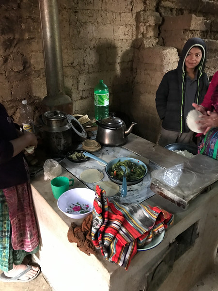 Family using stove