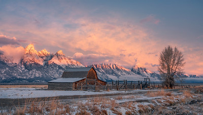 Sunrise at John Moulton Barn, Grand Teton National Park, Wyoming