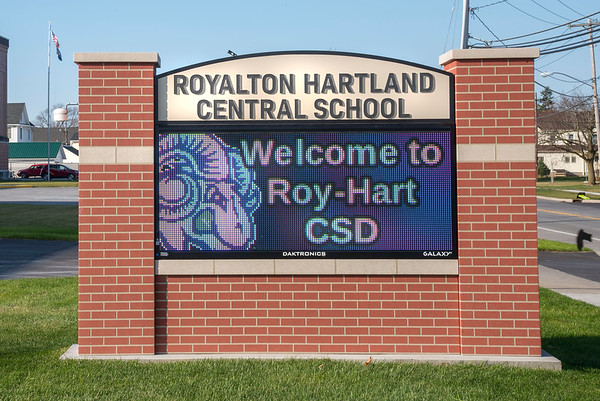 201120 Roy Hart HS Sign 1<br /> James Neiss/staff photographer <br /> Middle Port, NY - Royalton Hartland Central School sign. Roy-Hart High School.
