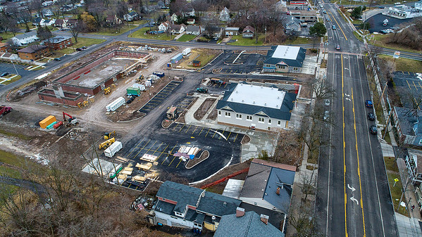 James Neiss/staff photographer <br /> Lewiston, NY - With a driveway and window in place, it appears the Village of Lewiston is getting a new Drive-thru restaurant off Center Street.