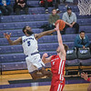James Neiss/staff photographer <br /> Lewiston, NY - Niagara University basketball player #5 James Towns shoots the ball during game action against Fairfield.