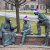 "201215 Enterprise<br /> James Neiss/staff photographer <br /> Lewiston, NY - Someone at Niagara University has a fun sense of humor decorating the ""St. Vincent and his Friends"" statue with holiday hats and making sure they all wear their masks. St. Vincent de Paul, is the founder of the Vincentian Fathers and Brothers who sponsor Niagara University and dedicated his life to the service of the poor."