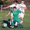 201016 LewPort Lockport 1<br /> James Neiss/staff photographer <br /> Lewiston, NY - Lew-Port soccer player #23 Robert Woods moves the ball during game action against Lockport.