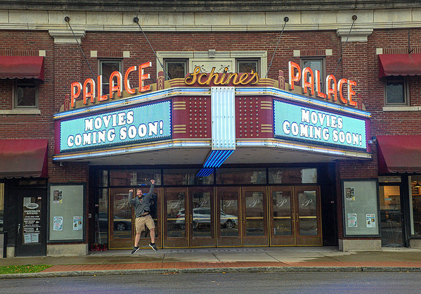 201019 Palace Movies<br /> James Neiss/staff photographer <br /> Lockport, NY - Evan Bleiler, a theatre instructor at the Palace Theater seems very happy that Movies are returning to the iconic area landmark theatre.