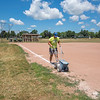 200714 LKPT Enterprise 1A<br /> James Neiss/staff photographer <br /> Lockport, NY - AnJo league groundskeeper John Parete was giving the softball and baseball diamonds fresh chalk base lines in preparation for evening league play.