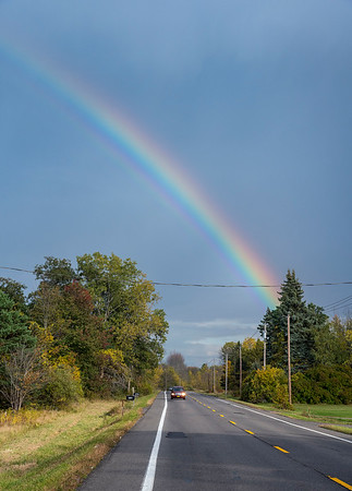201008 Enterprise 4<br /> James Neiss/staff photographer <br /> Barker NY - A rainbow came out after a sunshower over Somerset along Lake Road on Thursday.