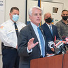 201002 NFPD Crime 3<br /> James Neiss/staff photographer <br /> Niagara Falls, NY - Niagara Falls Mayor Robert Restino says a few words during a press conference at police headquarters to address the increase in violent crimes.