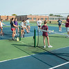 200922 Starpoint Sports 1<br /> James Neiss/staff photographer <br /> Pendleton, NY - Starpoint girls tennis coach Justin Daugherty speaks to his team at after school practice.