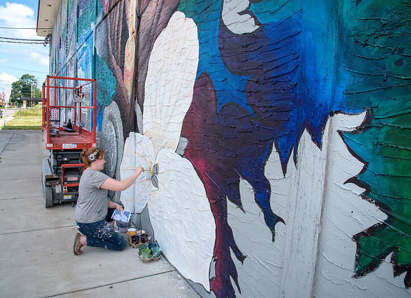 200714 DiCamillo Mural 2<br /> James Neiss/staff photographer <br /> Niagara Falls, NY - Artist Tara Sasiadek of Buffalo works on the giant mural on the 17th Street side of DiCamillo's Bakery on Pine Avenue.