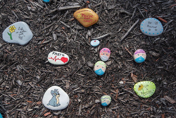 200415 Rock Garden 2<br /> James Neiss/staff photographer <br /> Lewiston, NY - Messages of hope, support and encouragement can be seen in the Heroes Rock! Garden outside Mount St. Mary's hospital.