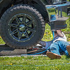 200520 Enterprise C<br /> James Neiss/staff photographer <br /> Lewiston, NY - Wrenching In The Driveway - Ken Duncan of Irving Drive works on his trucks front end. When he's not working on his machine, he's a mechanic with KDM Truck Services.