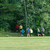200924 Newfane Sports 2<br /> James Neiss/staff photographer <br /> Newfane, NY - Members of the Newfane cross country team duck into the woods during practice.