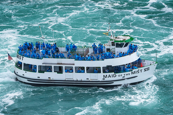 200723 Maid Capacity 1 <br /> James Neiss/staff photographer <br /> Niagara Falls, NY - The Maid of the Mist heads back to dock after taking tourists sightseeing at the base of the American and Canadian Falls. The company has been criticized in the news recently for the apparent lack of customer social distancing.