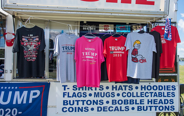 200720 Trump Trailer 5<br /> James Neiss/staff photographer <br /> Niagara Falls, NY - Trump fans visited The Trump Trailer that made a stop at Gratwick Riverside Park on Monday with all sorts of Trump wares.