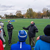 201102 LKPT Soccer 2<br /> James Neiss/staff photographer <br /> Lockport, NY - Lockport boys soccer coach Jeff Hulshoff speaks to his team during practice.