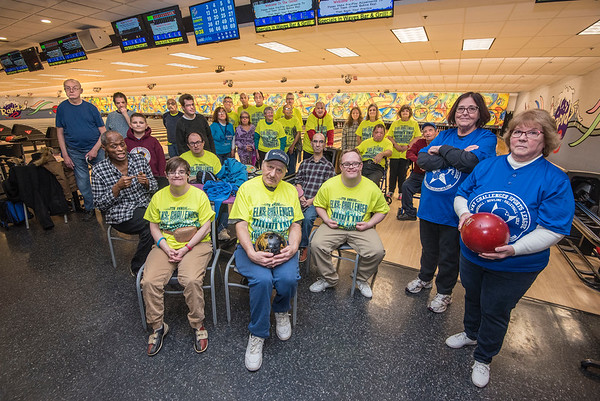 James Neiss/staff photographer <br /> Niagara Falls, NY - Volunteer coordinators at right, Marie Maietta and Merry Hedges, ball, pose with participants in the  WNY Challenger Sports League during an afternoon outing at the Rapids Bowling Center. The Challenger Sports League, Inc. brochure say the league  is a safe happy place for individuals of all ages and with disabilities to experience the joy of athletic participation.