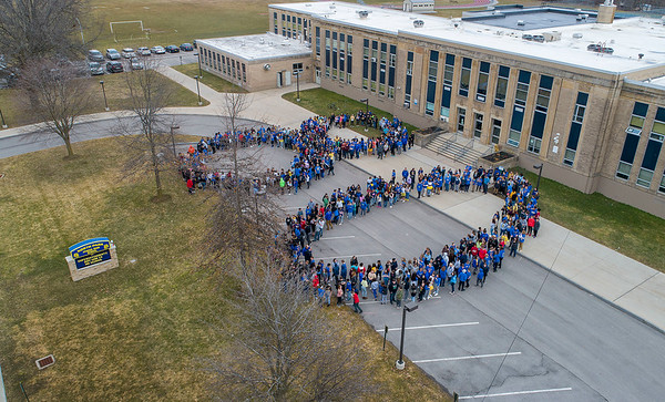 James Neiss/staff photographer <br /> Lockport, NY - North Park Junior High School students for the number 80 to celebrate the schools 80th birthday.