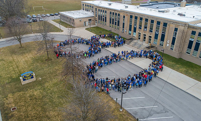 James Neiss/staff photographer  Lockport, NY - North Park Junior High School students for the number 80 to celebrate the schools 80th birthday.