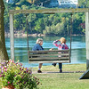 200923 Enterprise 2<br /> James Neiss/staff photographer <br /> Lewiston, NY - Good Conversation - Debbie Boltz and Dorothy Juras, both of Lewiston, enjoy a brisk conversation while enjoying the morning at Lewiston Landing.