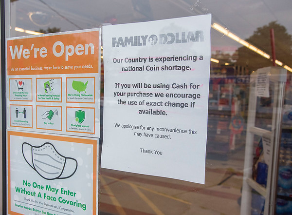200804 Coin Shortage 3<br /> James Neiss/staff photographer <br /> Niagara Falls, NY - Retail stores like this Family Dollar in Niagara Falls are dealing with a shortage of coins to make change.