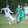 201016 LewPort Lockport 2<br /> James Neiss/staff photographer <br /> Lewiston, NY - Lew-Port soccer player #17 Drew Leardini moves the ball during game action against Lockport.