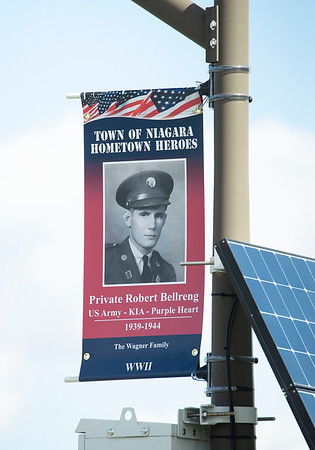 201007 Hometown Heroes 3<br /> James Neiss/staff photographer <br /> Town of Niagara, NY - The Town of Niagara is participating in the Hometown Heroes banner program and installed the first 12 banners that represent Town of Niagara residents who have served in each of the wars that the US has been involved in. Another 35 are ready to order and will go up around Memorial Day 2021 with the first 12 at Veterans Memorial Park.