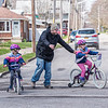 200420 Happy Enterprise 4<br /> James Neiss/staff photographer <br /> Niagara Gazette, NY - Jeremy Smith had to hustle to save his daughter Madeline who veered off course during a bike training ride with twin sister Chloe, both 7, down Vanderbilt Avenue in Deveaux.