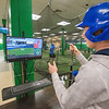 James Neiss/staff photographer <br /> Niagara Falls, NY - Baseball player Casey O'Bryan, 16 of North Tonawanda, checks out the electronic HitTrax board stats of his friend Michael Huff II of Niagara Wheatfield High School, as he practices hitting. The Niagara International Sports & Entertainment complex is now open inside the old Sears building at the former Summit Park Mall.
