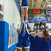 James Neiss/staff photographer <br /> Newfane, NY - The Newfane Panther Cheerleaders boosted Gillian Hinkley up for a cheer during a Basketball game against Wilson.