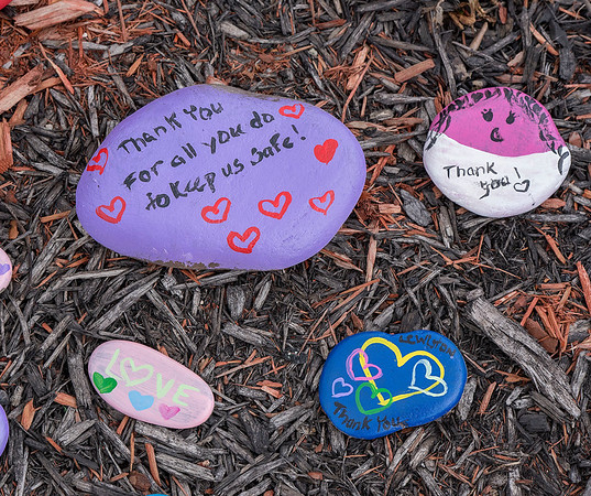 200415 Rock Garden 5<br /> James Neiss/staff photographer <br /> Lewiston, NY - Messages of hope, support and encouragement can be seen in the Heroes Rock! Garden outside Mount St. Mary's hospital.