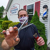 200529 Barber Mark 2<br /> James Neiss/staff photographer <br /> Lockport, NY - Barber Mark of Mark McKee's Barber Shop at 2918 Quaker Road in the Town of Hartland is preparing to open according to the rules set by NYS during the pandemic.