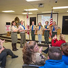 James Neiss/staff photographer <br /> Niagara Falls, NY - BSA Girls Troop 14 Scout Master Janis Lombardi and Committee Chair Kent Kerr handed out special awards to scouts, Lakata Freeman, Bella Serveiss, Josie Kerr and Eve Jones during their Court of Honor. Troup 14 is the first female scout troop in the BSA Iroquois Trail Council Towpath District charted by St. John's The Baptist R.C. Church in lockport