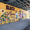 "2006012 Mural Extra 1<br /> James Neiss/staff photographer <br /> Niagara Falls, NY - (See yesterday) Artist Ashley Kay of Buffalo works on a new mural that says ""Black Lives Matter,"" part of a series of murals sponsored by the Niagara Falls National Heritage Area."