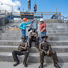 200717 LKPT Statues 1<br /> James Neiss/staff photographer <br /> Lockport, NY - Youngstown sculptor Susan Geissler and Linda Roth, board member Lockport Locks Heritage District Corporation, unveil the last of 3 locktender statues to be placed on Friday. The 3 statues are the first of 14 total locktenders being sculpted that are fashioned after a photo taken of them posing in this exact location in 1897 at the Lockport Locks.