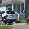 James Neiss/staff photographer <br /> Newfane, NY - Sunny Day Visit - Becca Weidel, right, practices good social distancing as she visits her friend Andrea Pendino and her children Jordan, 18mos and Brielle, 5, at their West Avenue home in Newfane.