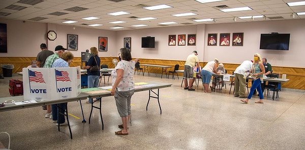 200623 Voting 2<br /> James Neiss/staff photographer <br /> Wilson, NY - Voters practice social distancing at the  Wilson Fire Hall.