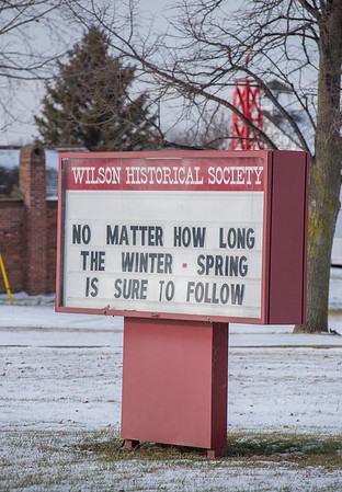 James Neiss/staff photographer <br /> Wilson, NY - Historic Perspective - Don't let the winter blues get you down, if you need a boost just think about this sign on the way into the Village of Wilson on Route 425.