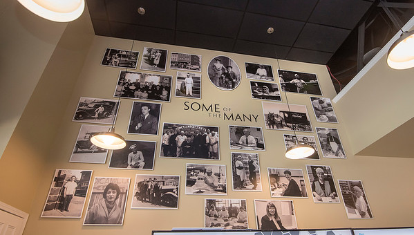 200730 DiCamillo Store 2<br /> James Neiss/staff photographer <br /> Niagara Falls, NY - The DiCamillo Bakery store reopened to customers after an extensive remodeling project. One of the features is a wall of family photos covering the generations of ownership.