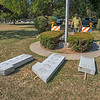 200824 Vets Memorial 1<br /> James Neiss/staff photographer <br /> Wilson, NY - Garry Greenwald, a member of the Martin F Jennings American Legion Post 836 in Wilson, stopped by to see how repairs to a veterans monument at the Greenwood Cemetery were coming along. The story is the foundation on this veteran's monument was falling apart and the monument was tipping.