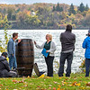 201021 History Channel <br /> James Neiss/staff photographer <br /> Niagara Falls, NY - Local Annie Edson Taylor reenactor Kathy Ordiway is being interviewed by film crews from the History Channel on Goat Island, at Niagara Falls State Park, next to a hand made replica of Taylors barrel. Crew said they plan to drop the barrel from the same height that it went over the falls into water at an undisclosed location to film the effect for an upcoming History Channel special.
