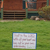 200408 Religion Easter 3<br /> James Neiss/staff photographer <br /> Bergholtz, NY - A Stoelting Street home offers a message of faith during the Easter season.