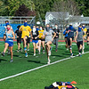 200921 Lkpt School Sports 1<br /> James Neiss/staff photographer <br /> Niagara Falls, NY - Members of the Lockport cross country team warm up during practice on Monday, the first day for school sports during the COVID-19 epidemic.