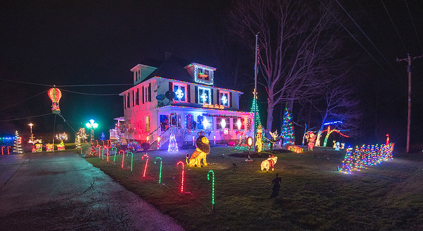 201215 Barker Lights<br /> James Neiss/staff photographer <br /> Barker, NY - The holiday sights and sounds are big time at 8749 Coleman Road in Barker, where the display is synchronized with an FM broadcast passers by can tune into.