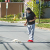 200921 Enterprise 2<br /> James Neiss/staff photographer <br /> Niagara Falls, NY - Out for a walk - Margrianna Goldsmith 14, took advantage of the beautiful weather on the last day of summer to take her pet ferret Leo out for a walk in front of her Ontario Street home.