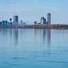 James Neiss/staff photographer <br /> Niagara Falls, NY - Reflective view of the Niagara Falls skyline as seen from the 53rd Street dock.