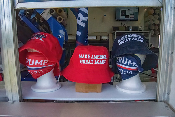 200720 Trump Trailer 3 <br /> James Neiss/staff photographer <br /> Niagara Falls, NY - Trump fans visited The Trump Trailer that made a stop at Gratwick Riverside Park on Monday with all sorts of Trump wares.