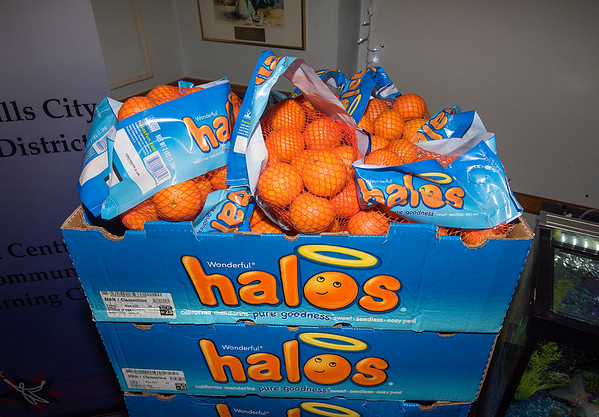 201217 Bag and Oranges 2<br /> James Neiss/staff photographer <br /> Niagara Falls - 500 students at Hyde Park Elementary School in Niagara Falls will receive a bag of Halo oranges from Mount St. Mary's Hospital as part of a food security grant the hospital secured this year. During the pandemic, there has been a sharp increase in food insecurity, and this donation provides an easy, nutritious snack for children and their families. Students will receive the oranges in an insulated grocery tote for future use. Mount St. Mary's worked in collaboration with DiMino Tops of Lewiston to provide this donation to the school.