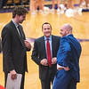 James Neiss/staff photographer <br /> Lewiston, NY - Former NU coach Chris Casey, center,  is now a Fairfield assistant coach.